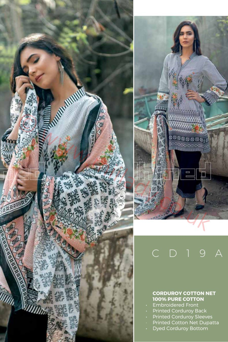 Gul Ahmed Winter 2018 Suit CD19A - Embroidered Green Corduroy Kameez with printed Cotton Net Dupatta