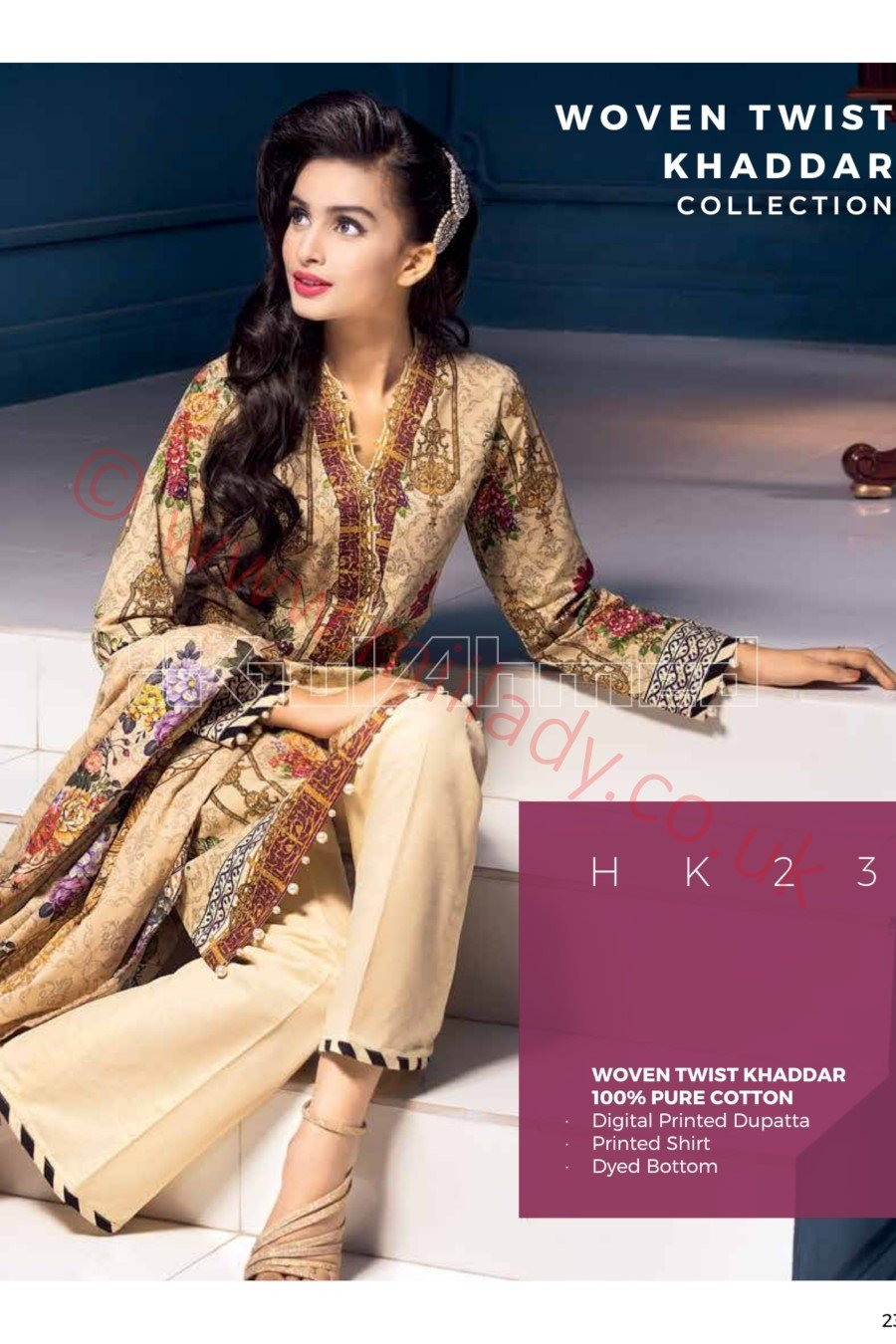 Gul Ahmed Winter 2018 Suit HK23 - Digital Printed Beige, Khaddar Kameez with digital dupatta