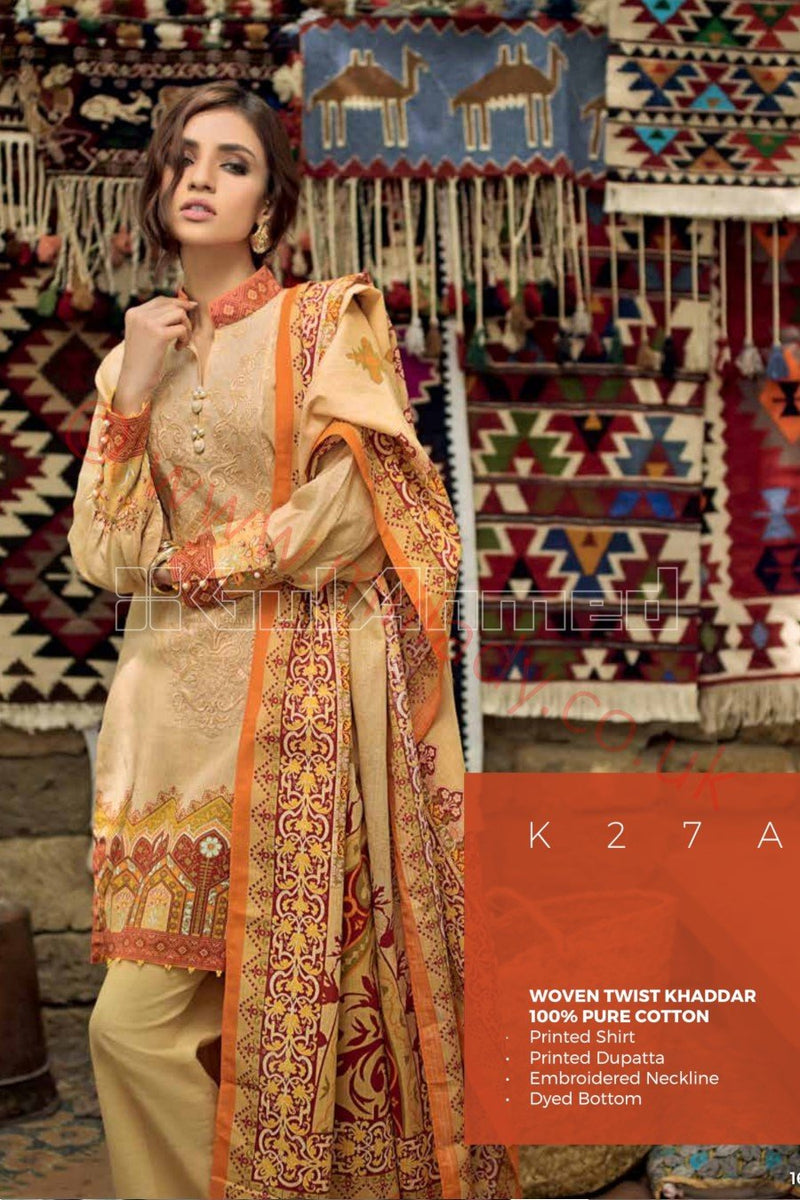 Gul Ahmed Winter 2018 Suit K27-A - Beige Khaddar Printed kameez with embroidered neckline
