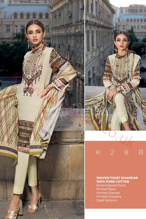 Gul Ahmed Winter 2018 Suit K28-B - Embroidered/Printed Kameez with printed dupatta