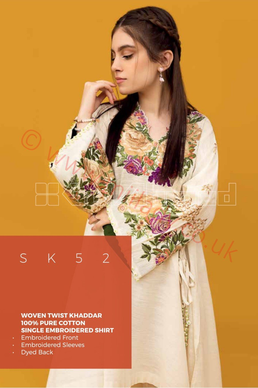 Gul Ahmed Winter 2018 Suit SK52 - Embroidered Cream Colour Single Shirt