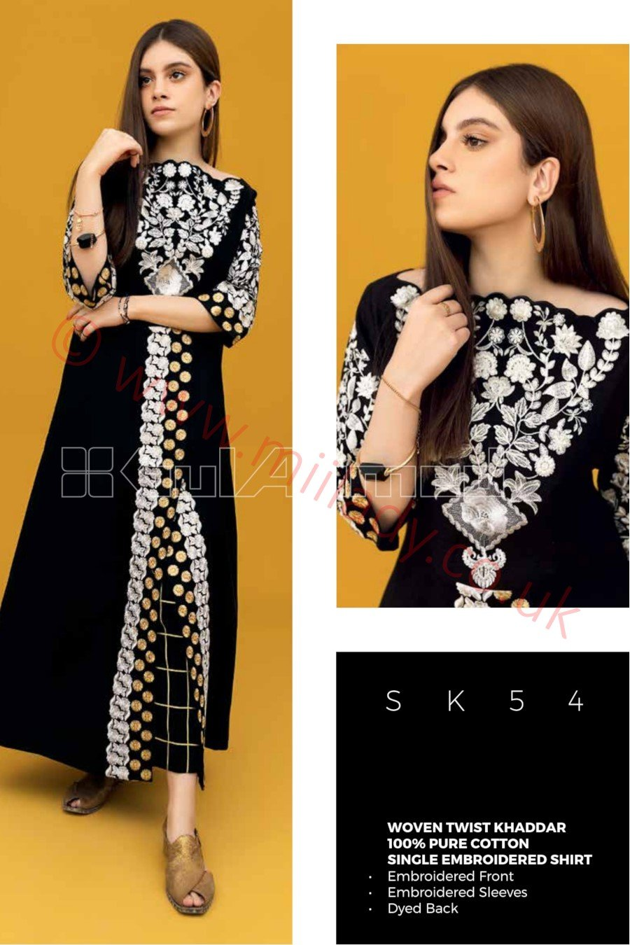 Gul Ahmed Winter 2018 Kurti SK54 - Embroidered Khaddar Single Black Shirt