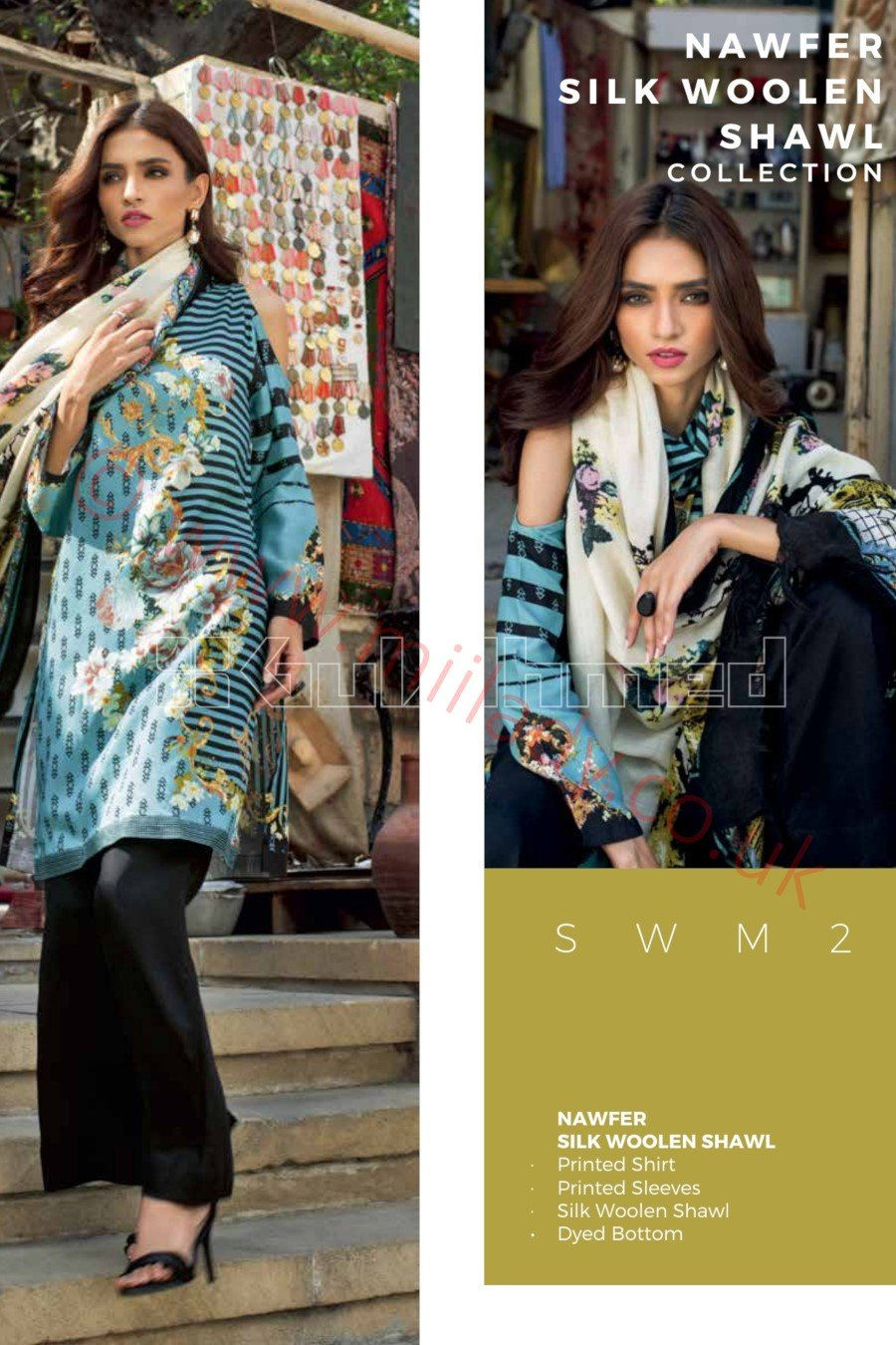 Gul Ahmed Winter 2018 Suit SWM2 - Printed Turquoise Silk Wool Shirt with wool shawl