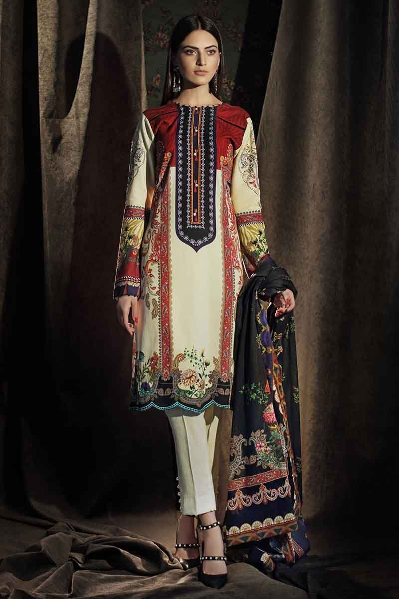 Gul Ahmed Winter Suit Off White CD-24