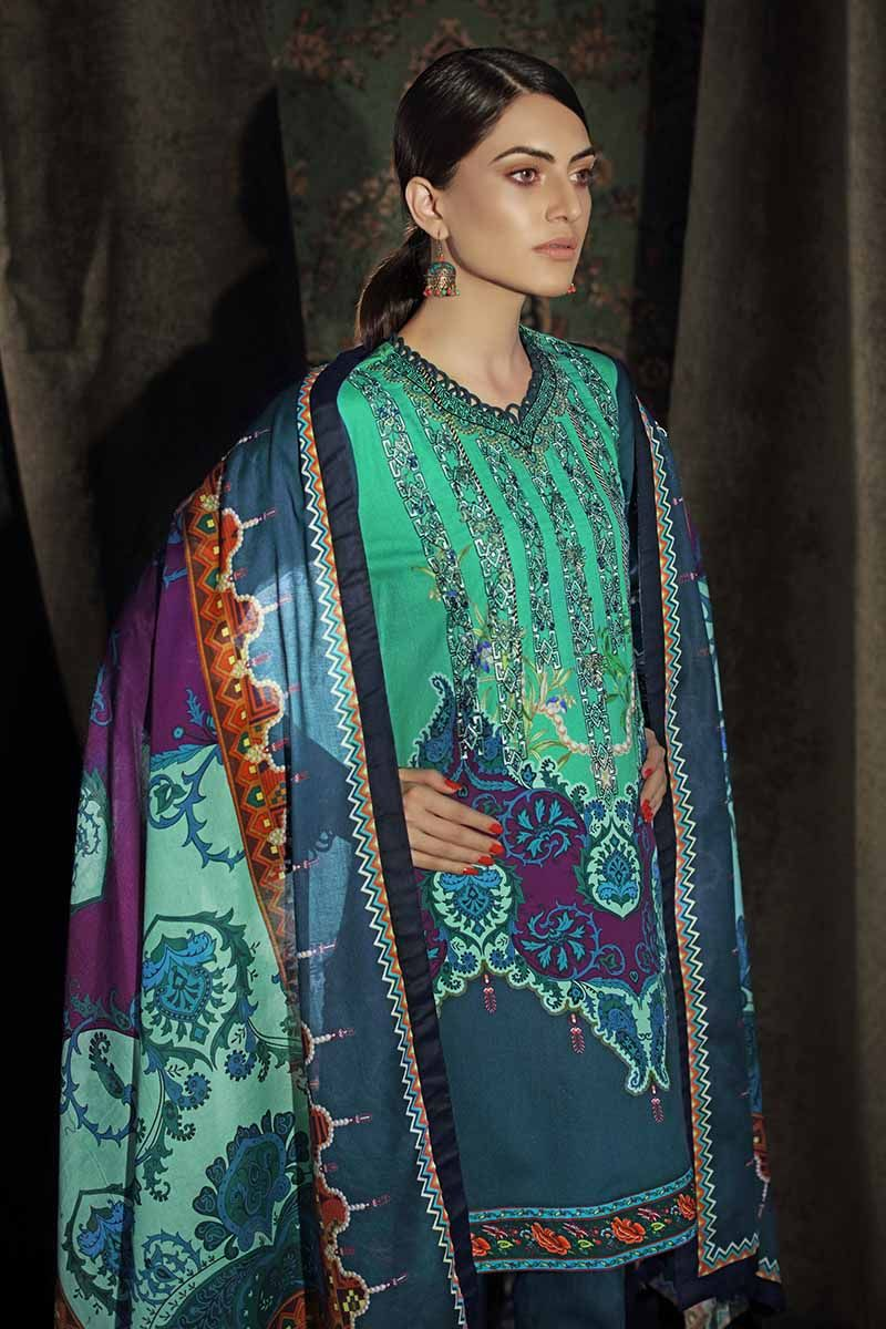 Gul Ahmed Winter 2019 CD-27 - Digital Embroidered Teal Colour Corduroy Shirt with printed shawl