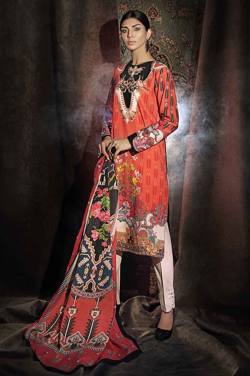 Gul Ahmed Winter Suit Orange CD-29