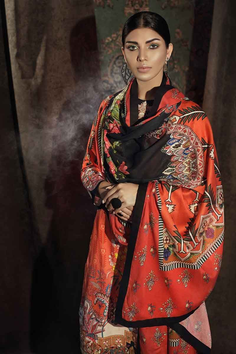 Gul Ahmed Winter Collection 2019 Suit Orange CD-29