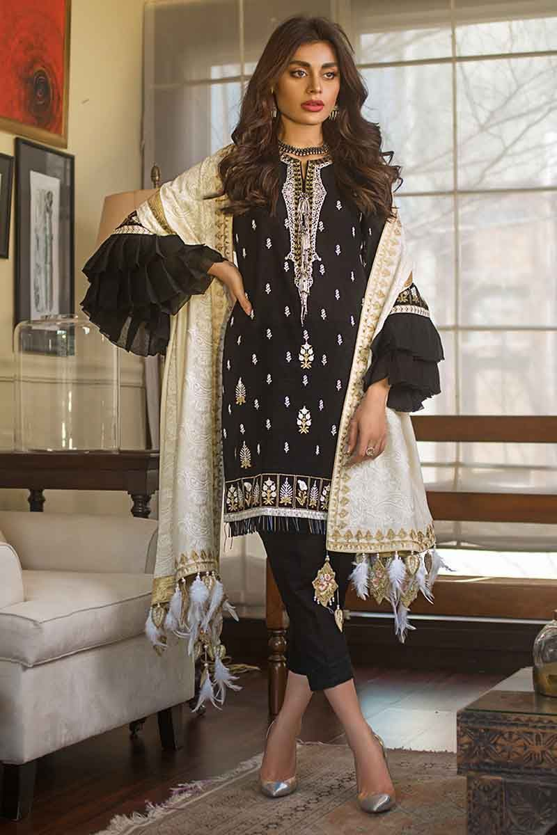 Gul Ahmed Winter Collection 2019 Suit Black DK-10