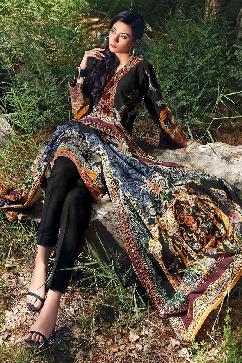 Gul Ahmed Winter Collection 2019 Suit Black K-47