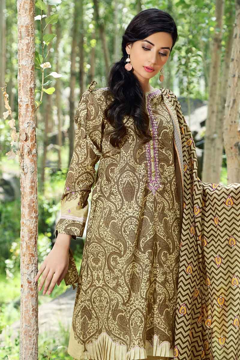 Gul Ahmed Winter 2019 Suit Brown K-49