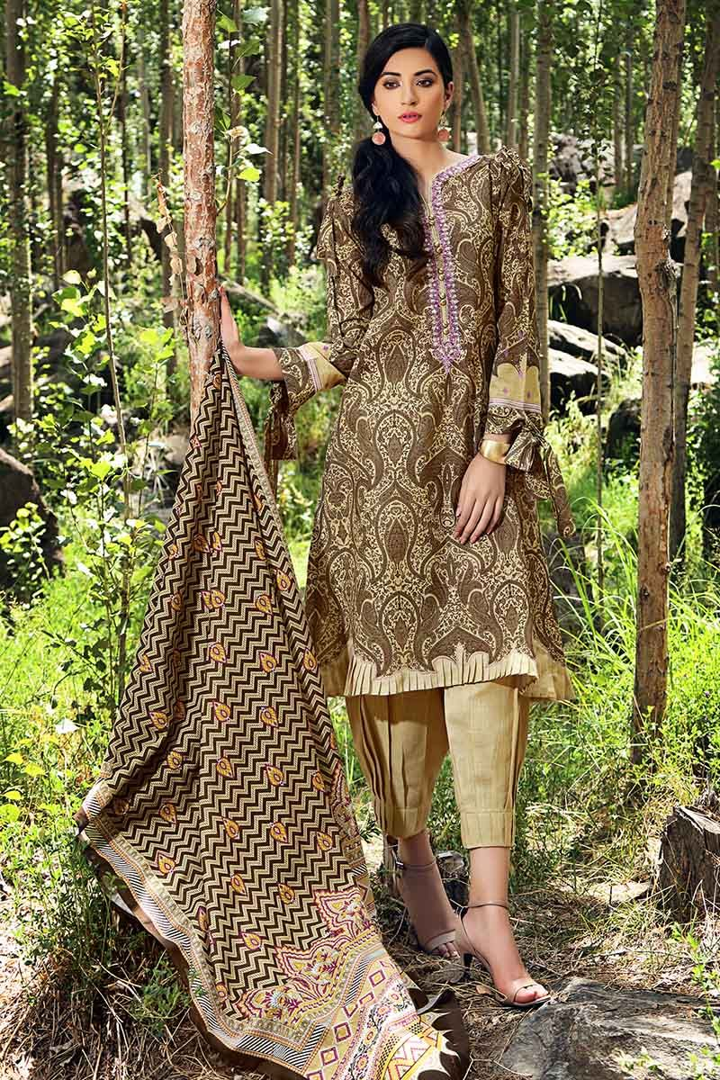 Gul Ahmed Winter 2019 Brown K-49