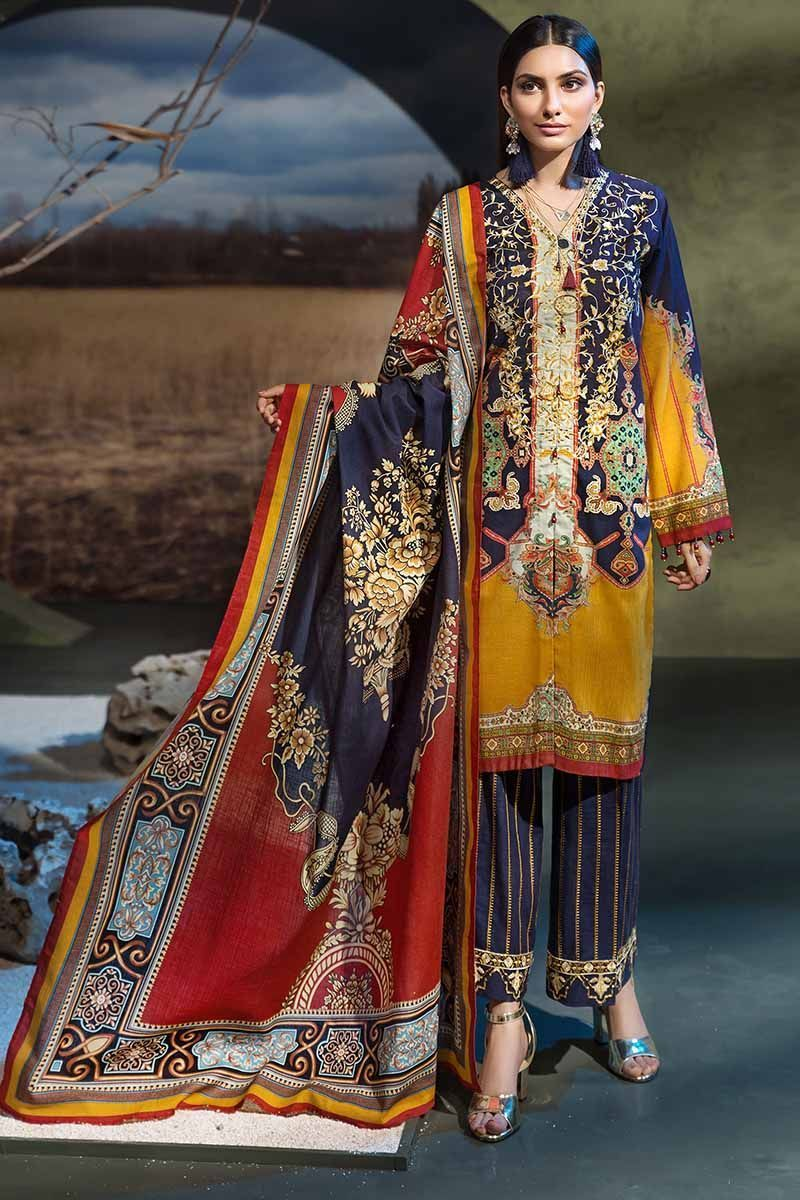 Gul Ahmed Premium Winter Suit K-54 - Navy Embroidered Khaddar Shirt with digital printed shawl