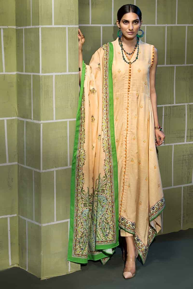 Gul Ahmed Winter Collection 2019 Suit Green K-55