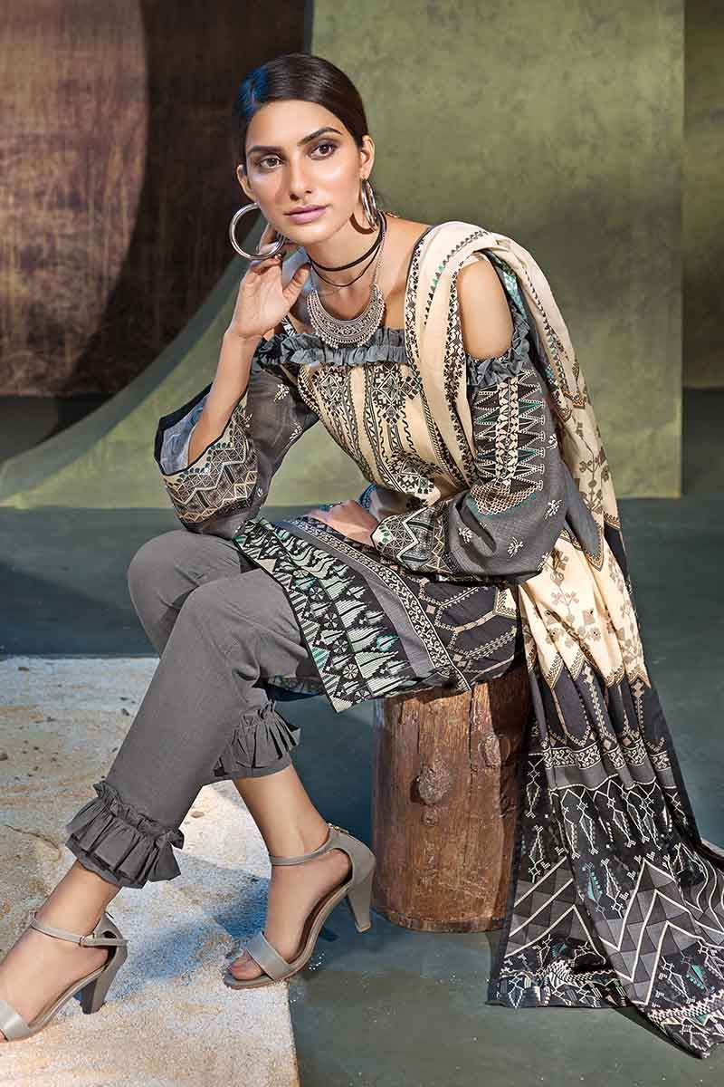 Gul Ahmed Winter Collection 2019 Suit Grey K-73