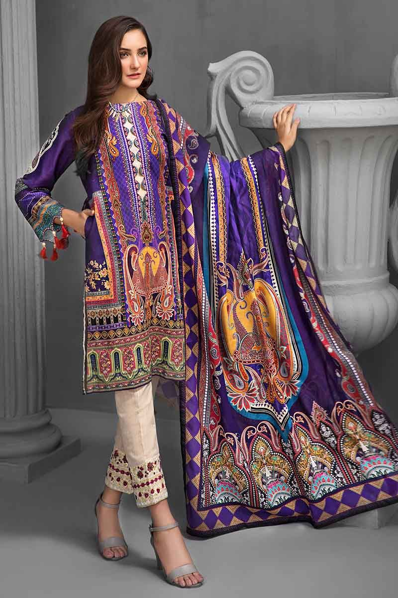 Gul Ahmed Winter Suit Dark Purple KCN-05