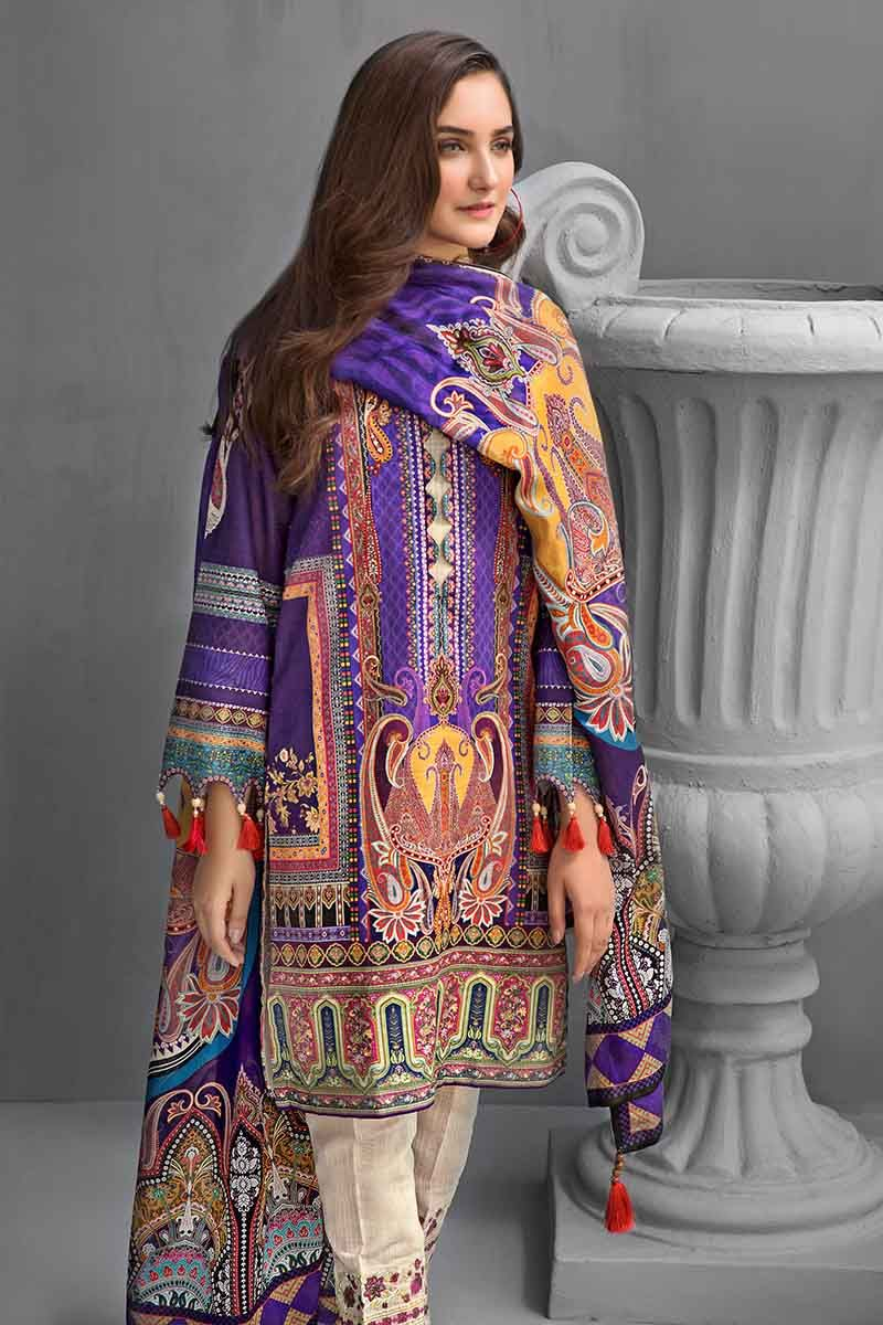 Gul Ahmed Winter Collection 2019 Dark Purple KCN-05
