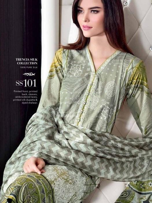 Gul Ahmed Lawn suit SS-101 - Embroidered grey lawn shirt with printed pure silk dupatta