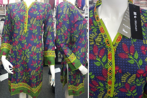 Gul Ahmed Stitched Digital Kurti SL-PK06 - Blue lawn shirt