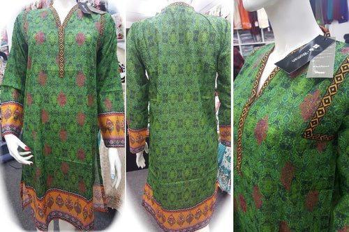 Gul Ahmed Stitched Digital Kurti SL-PK20 - Green lawn printed shirt