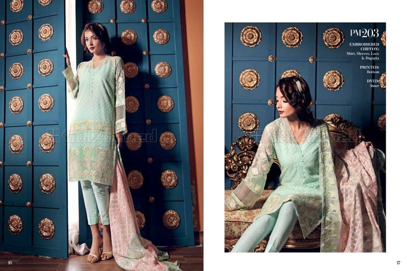 Gul Ahmed Embroidered Chiffon suit PM203