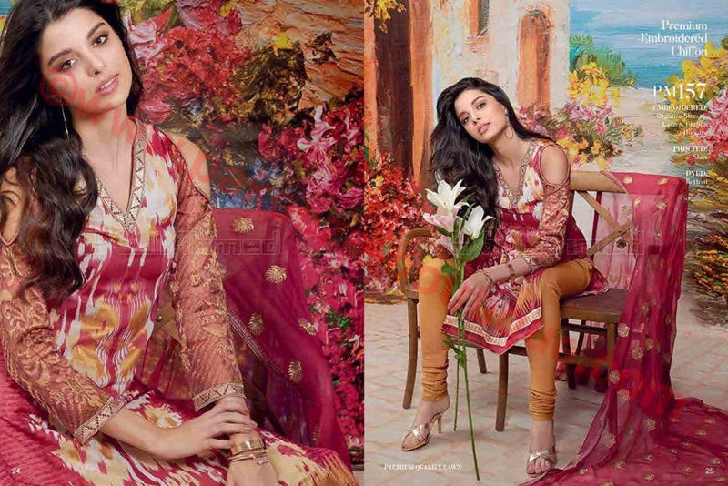 Gul Ahmed Summer Premium Lawn 2017 suit PM-157