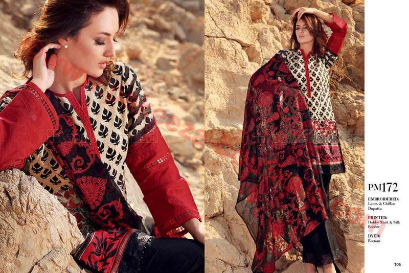 Gul Ahmed Summer Premium Lawn 2017 suit PM-172
