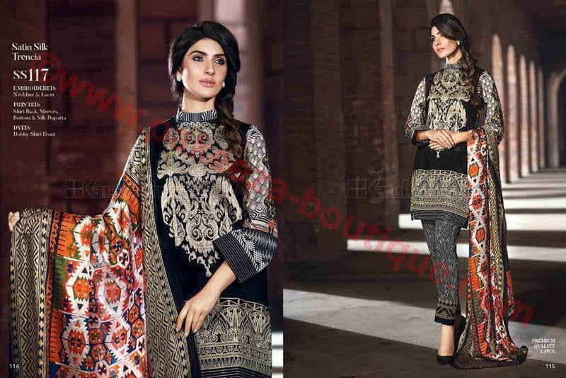 Gul Ahmed Summer Premium Lawn 2017 suit SS-117