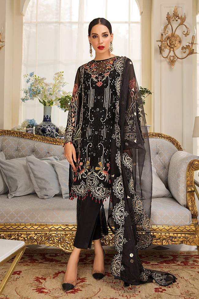 Gulaal Unstitched Luxury Formal Jardin D'Amour 2019 suit Noire