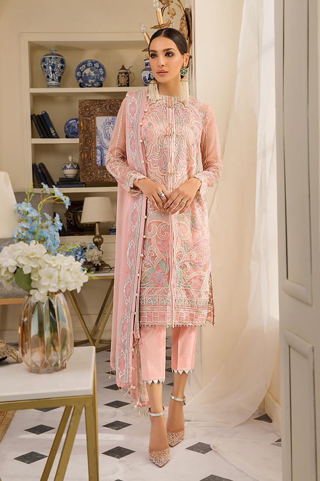 Gulaal Unstitched Luxury Formal Jardin D'Amour 2019 suit Peche