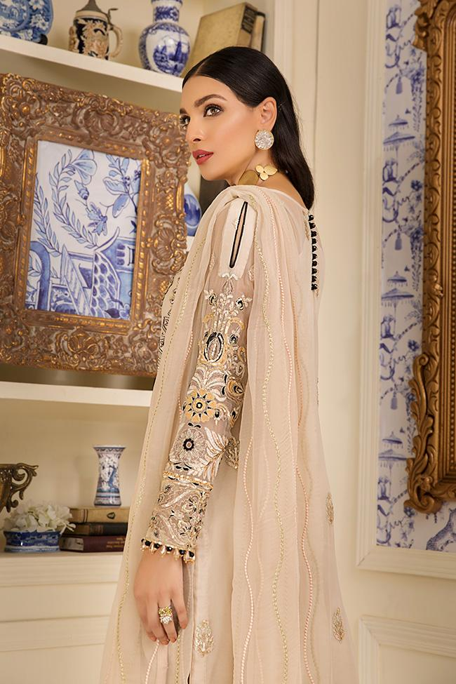 Gulaal Jardin D'Amour 2019 suit Viellissement - Unstitched Beige Colour Embroidered, Sequined Kameez, chiffon dupatta and silk bottom
