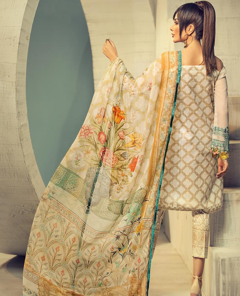 Ittehad Signature Series 2019 suit ACACIA - Beige Embroidered Lawn Shirt, cotton net sleeves and digital chiffon dupatta