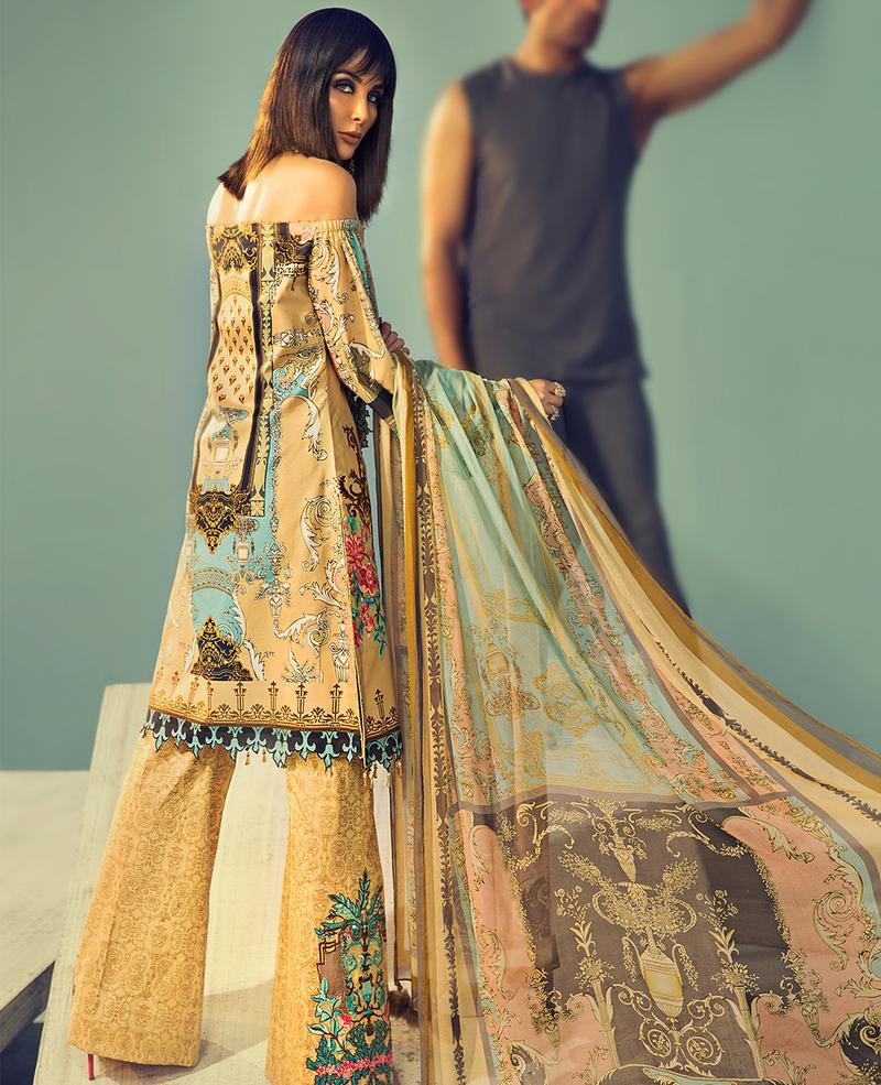 Ittehad Signature Series Lawn 2019 suit GOLDEN HAZE - Embroidered/Digital Lawn Shirt, Printed Trouser with Motif and digital Chiffon Dupatta