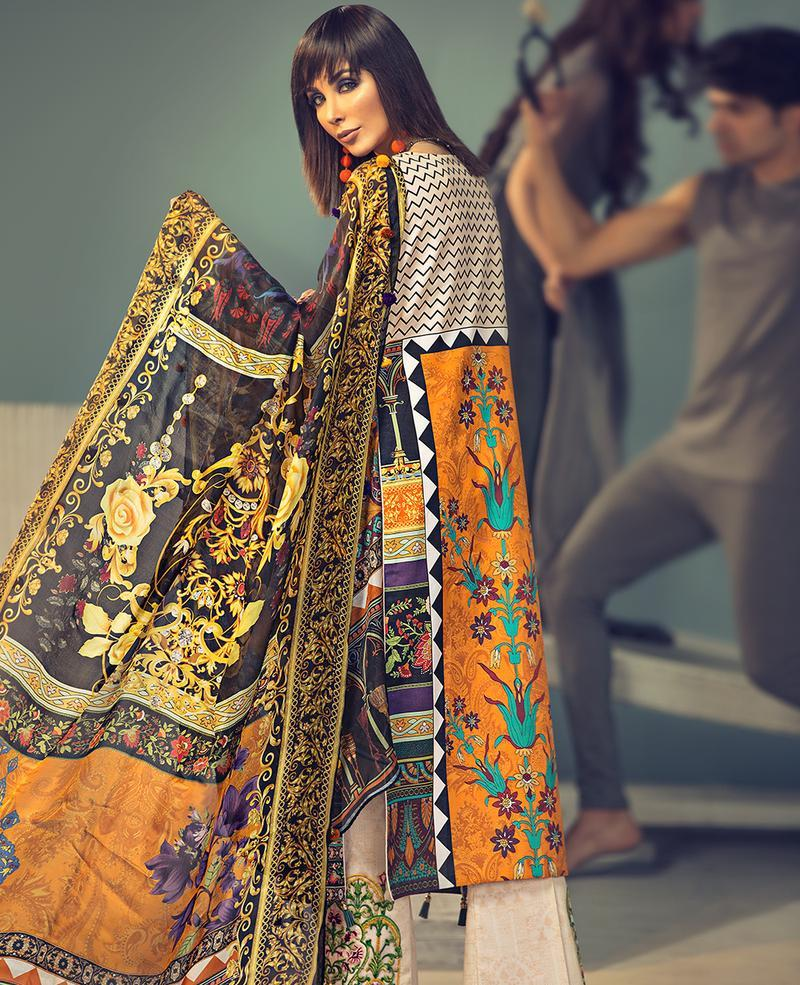 Ittehad Signature Series Summer 2019 suit MARIGOLD - Embroidered/Printed Lawn Shirt, Dyed Trouser and Digital Silk Dupatta