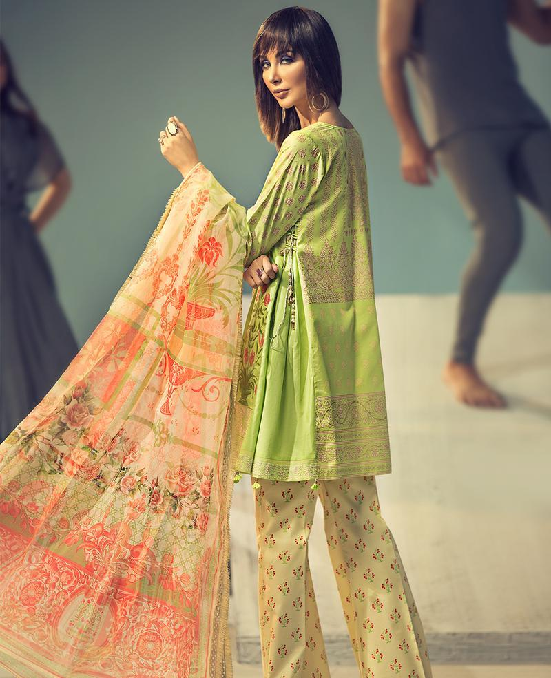 Ittehad Signature Series Summer 2019 suit MELLOW GREEN - Embroidered/Printed Salwar Kameez with digital organza dupatta