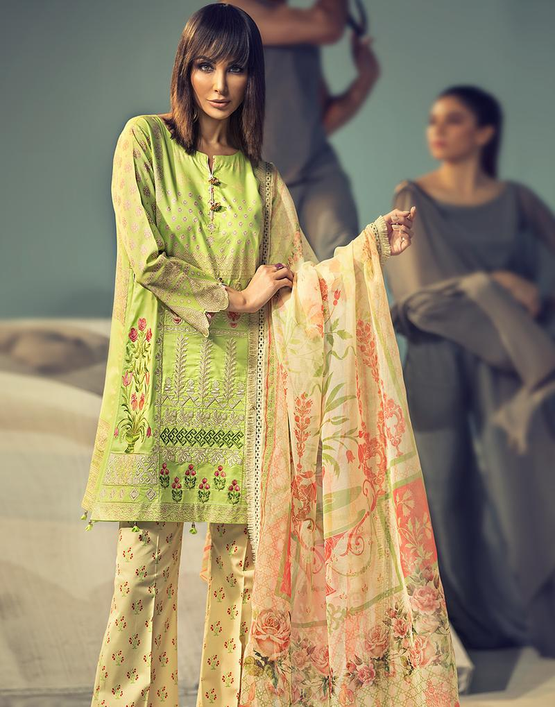 Ittehad Signature Series Lawn 2019 suit MELLOW GREEN