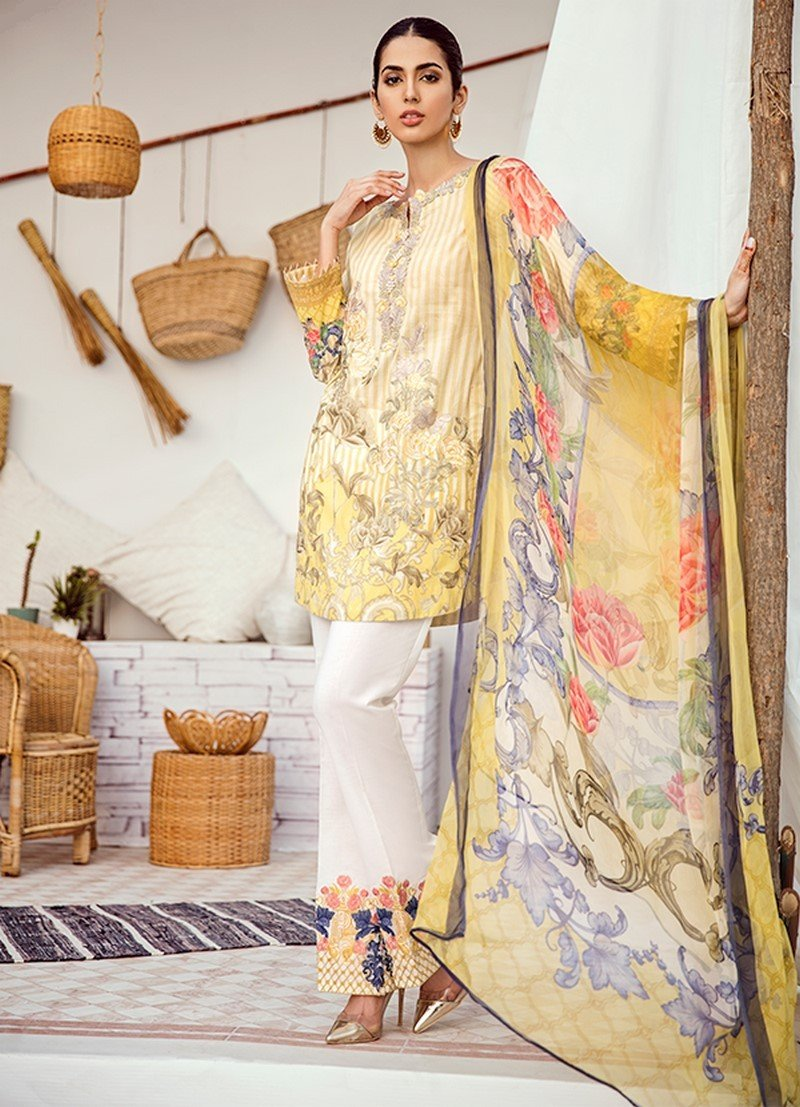Iznik Chinon Lawn Vol-3 2019 suit ICL-04 Pastel Yellow