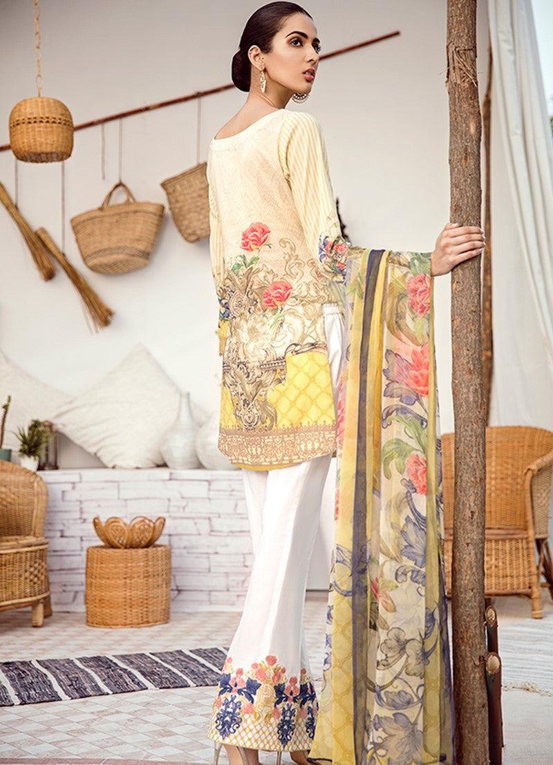Iznik Chinon Vol-3 2019 suit ICL-04 - Printed/Embroidered Pastel Yellow Shirt, Dyed Trouser and Digital Chiffon Dupatta