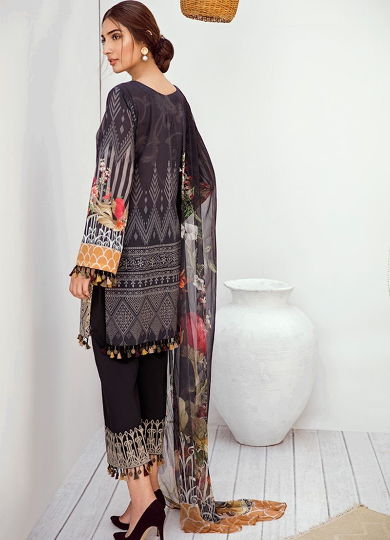 Iznik Chinon Vol-3 2019 suit ICL-05 - Black Lawn Embroidered Shirt, Dyed Trouser and Digital Chiffon Dupatta