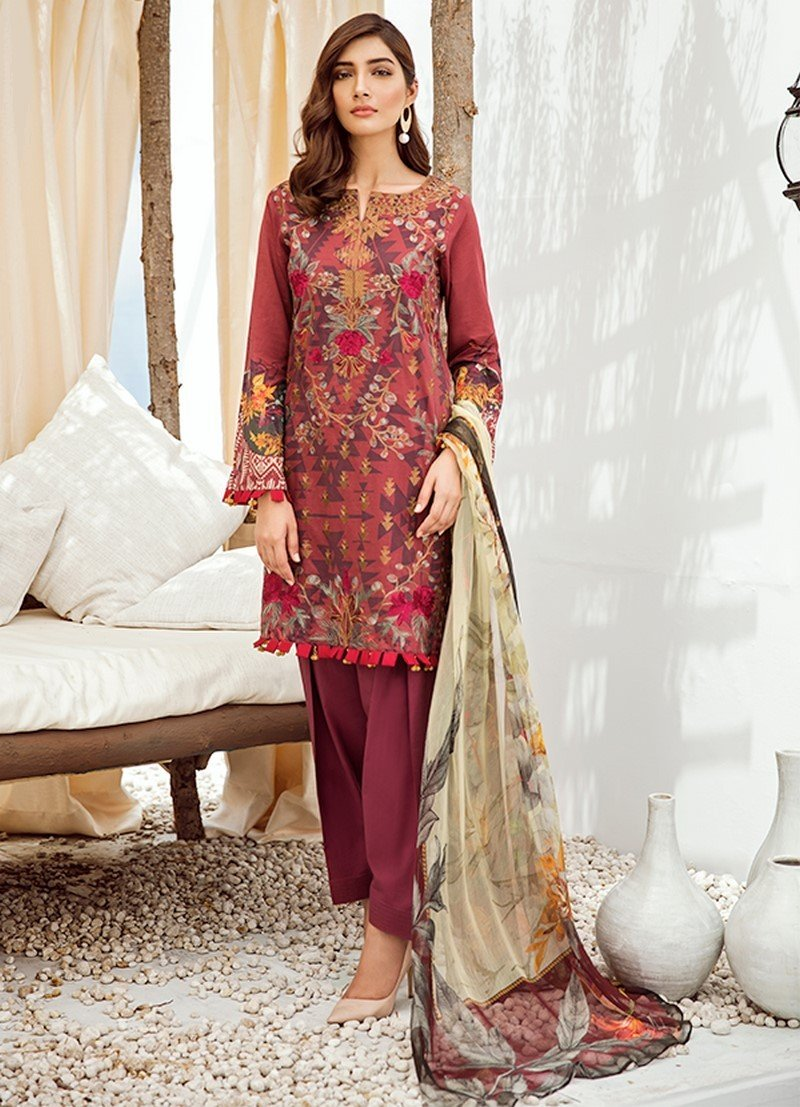 Iznik Chinon Lawn Vol-3 2019 suit ICL-06 Barn Red