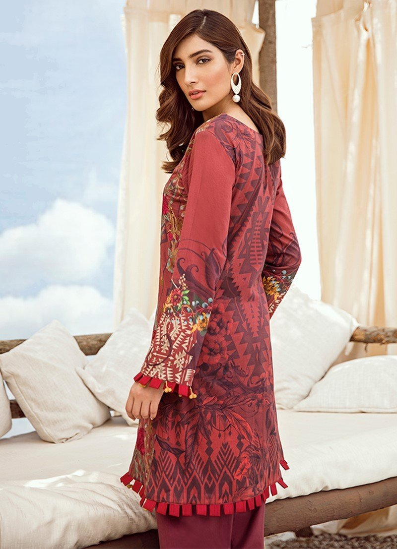 Iznik Chinon Vol-3 2019 suit ICL-06 Barn Red - Maroon Lawn Embroidered Shirt, Dyed Cambric Trouser and Digital Dupatta