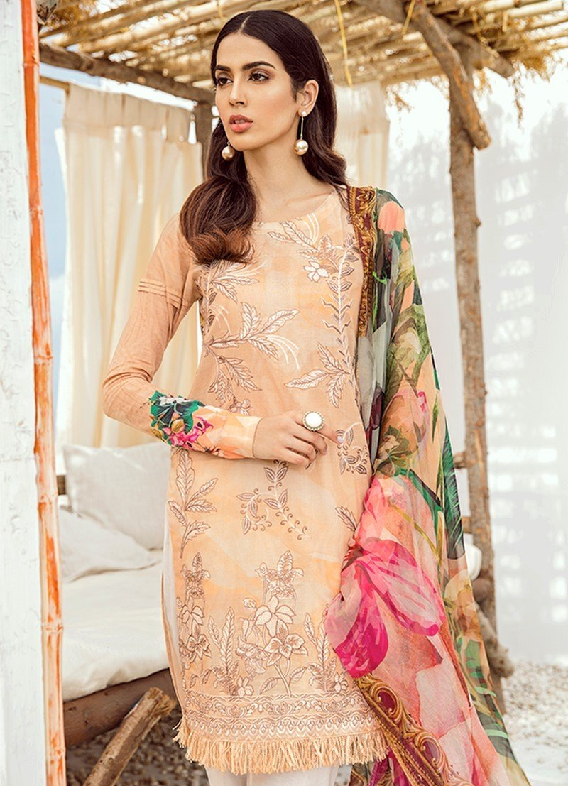 Iznik Chinon Vol-3 2019 suit ICL-07 - Peach Lawn Embroidered Shirt, Dyed Cambric Trouser and Digital Chiffon Dupatta