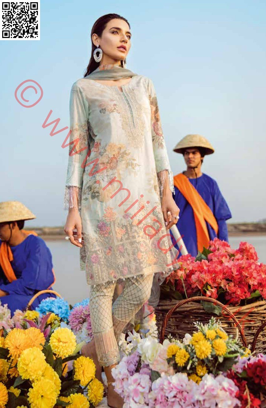 Iznik Chinon Luxury suit CRYSTAL - Design 08 - Embroidered Kameez with printed chiffon dupatta