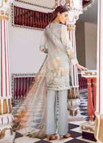 Iznik Guzel Vol-2 suit ANGELICA (GLL01) - Ash Grey embroidered kameez with printed chiffon dupatta