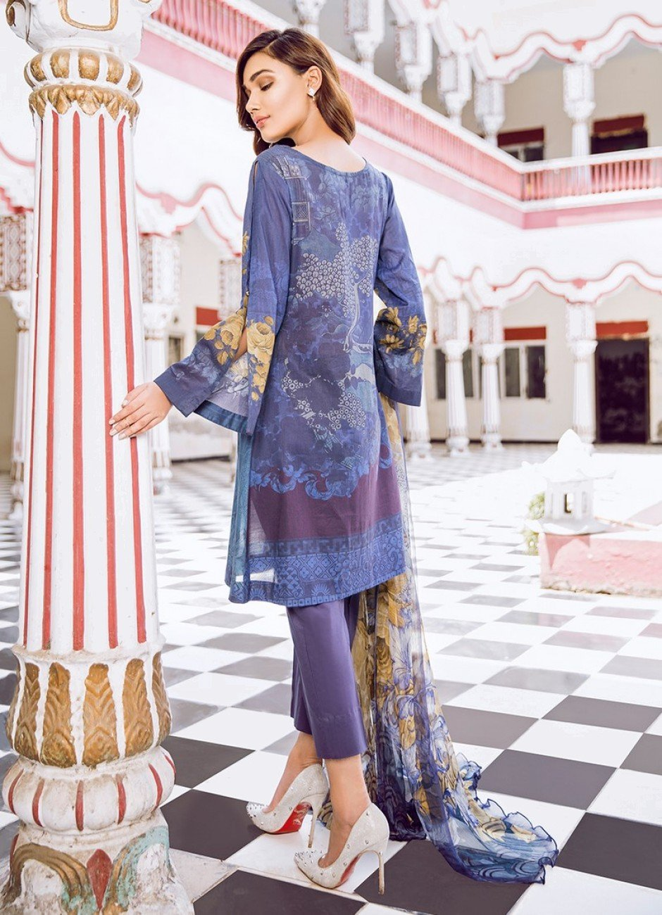 Iznik Guzel Lawn 2018 suit LOBELIA (GLL02) - Blue embroidered kameez with printed chiffon dupatta