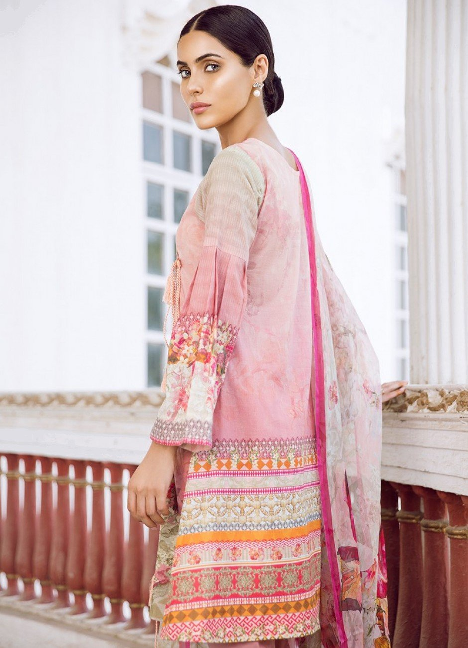 Iznik Guzel Lawn 2018 suit CARNATION (GLL04) - Embroidered pink kameez with dyed dupatta
