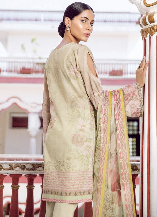 Iznik Guzel Lawn 2018 suit DAYLILY (GLL05) - Beige embroidered kameez and trouser with patch