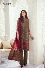 Iznik Imperial Dreams 2020 suit Garnet Ash (Id-08) - Embroidered Brown Chiffon Shirt and dyed silk trouser