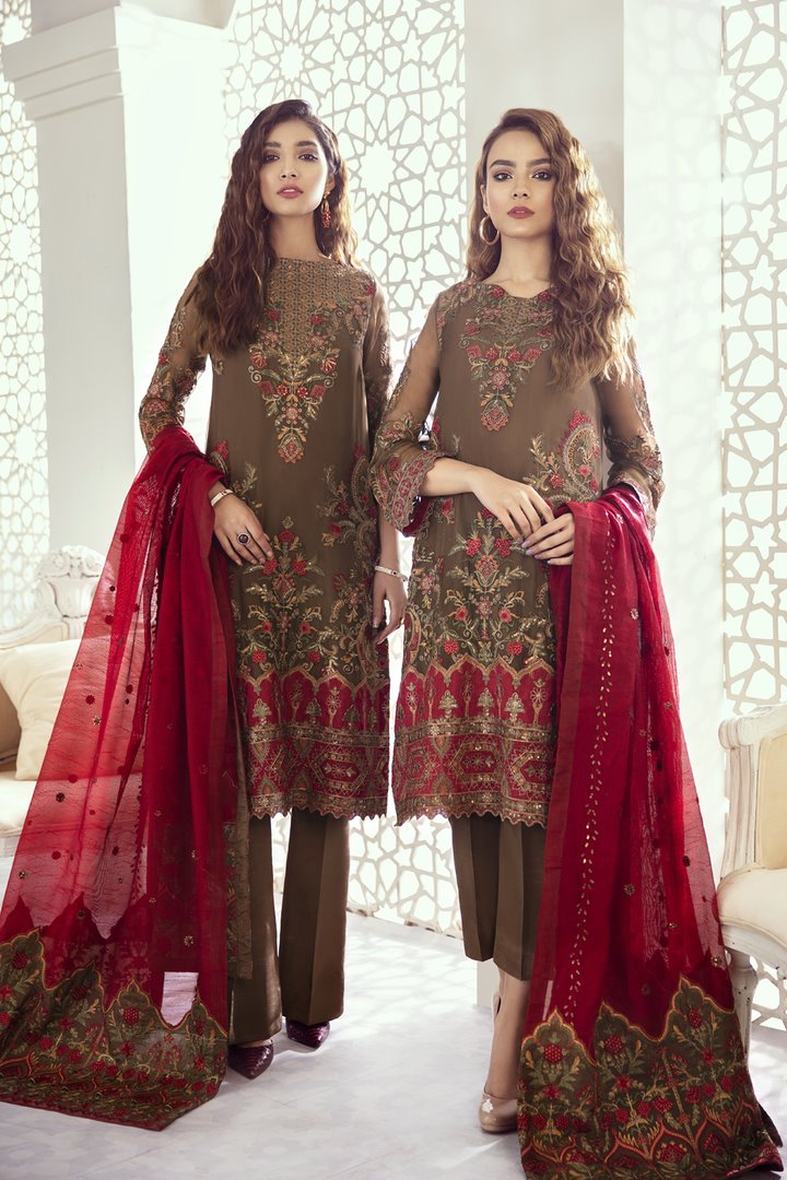 Iznik Imperial Dreams Chiffon Collection 2020 suit Garnet Ash (Id-08)
