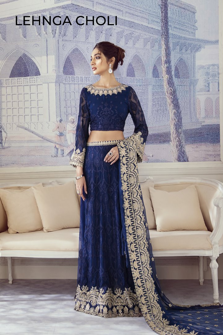 Iznik Imperial Dreams Chiffon Collection 2020 suit Navy Jewel - Embroidered navy blue chiffon shirt with silk trouser