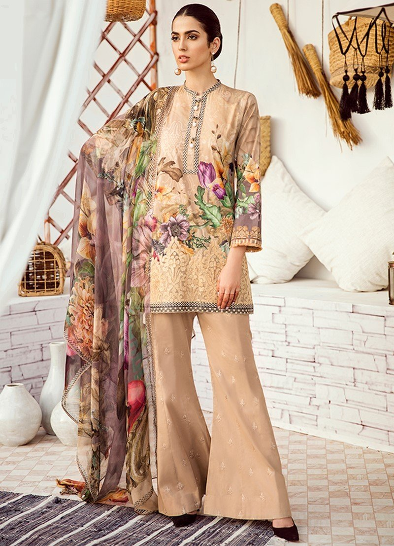 Iznik Chinon Lawn Vol-3 2019 suit ICL-08 Warm Sand